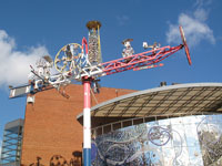 A whirligig by visionary artist Vollis Simpson is found on the grounds of the American Visionary Art Museum