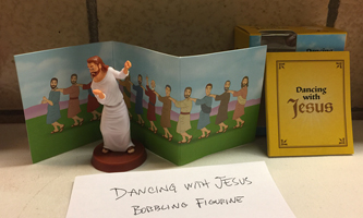 Dancing with Jesus bobbling figurine